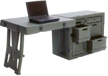 Tactical Desks are available in several colors. Black, Tan or other options.